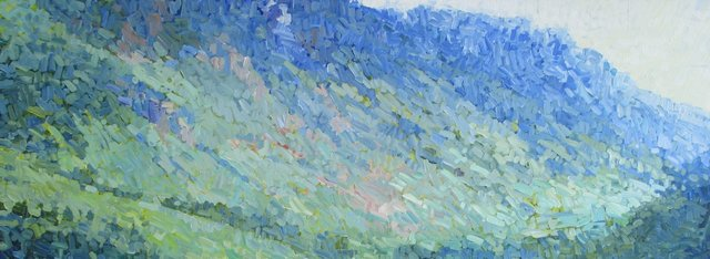 Above Crater Lake, 2014, Acrylic on Canvas, 34 x 96 in.