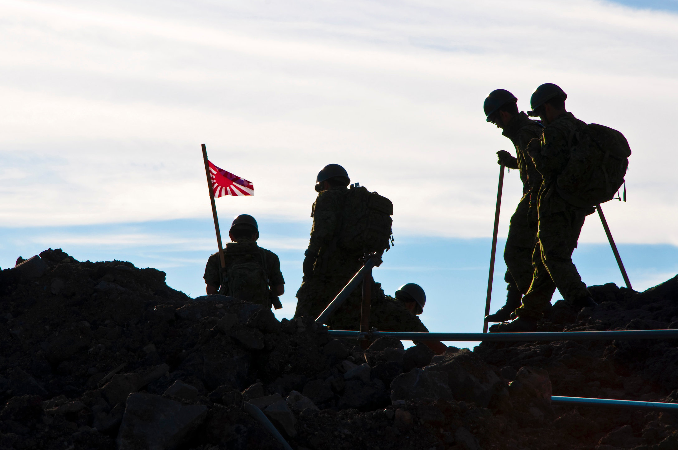 Japanese soldiers on top of Mount Fuji