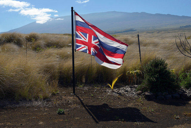 Hawaiian independence flag at Mauna Kea mountain