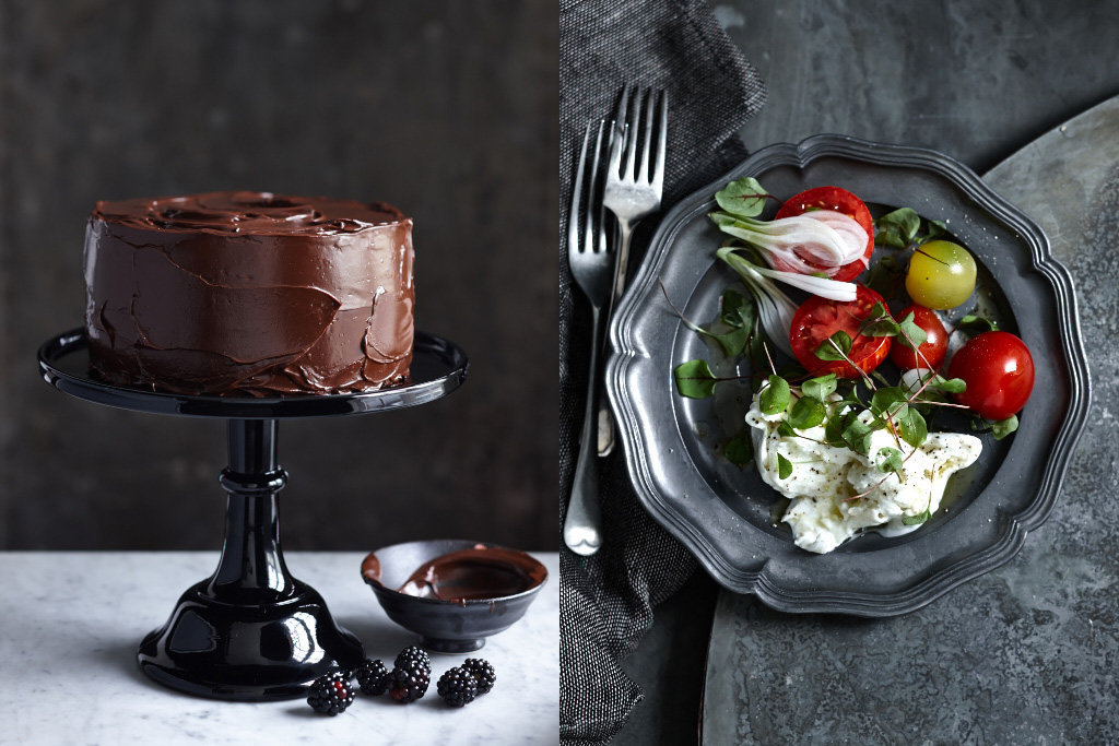 double chocolate cake & salad
