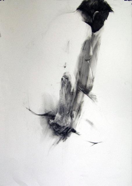 Mężczyzna tyłem, rys. węglem 70x100 2008