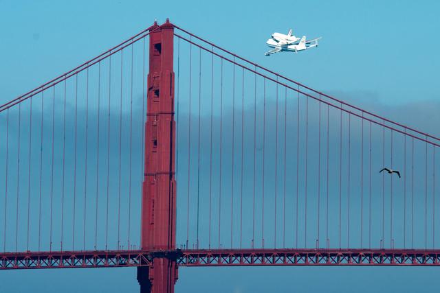 Endeavor over the Golden Gate Bridge