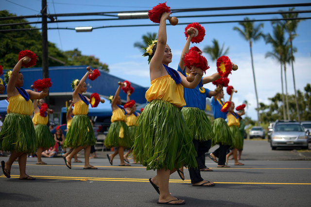 Hula dancers at Merrie Monarch Parade