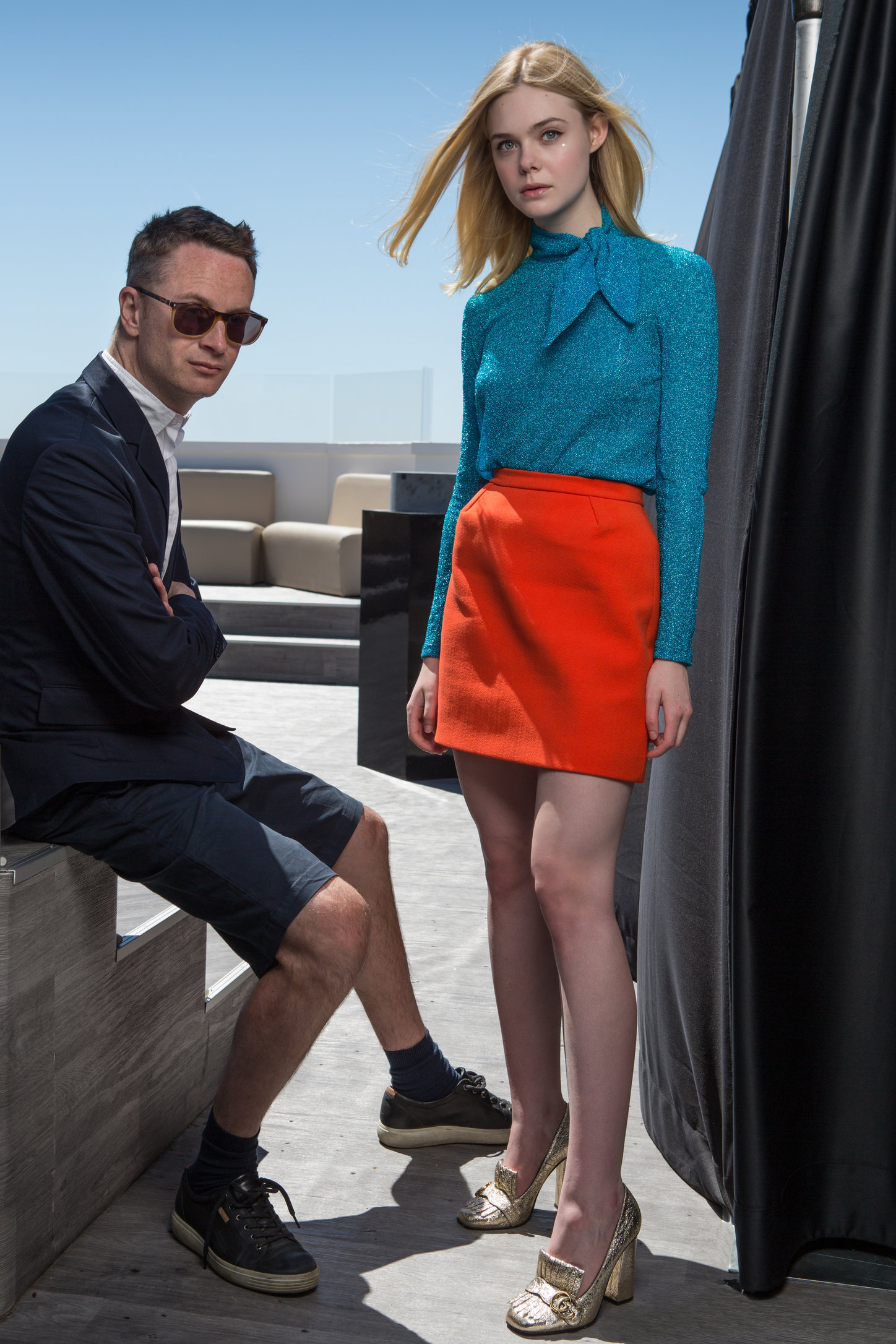 nicolas winding refn, director and elle fanning, actress