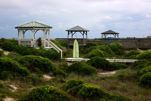 Gazebos along Oak Island's Cazwell Beach, N.C.