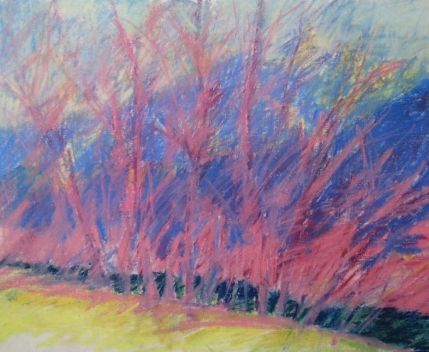 Cottonwoods with Mt Sopris, 2008, Pastel on Paper, 16 x 20 in.