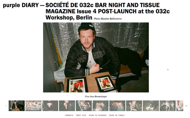 purple DIARY   SOCIÉTÉ DE 032c BAR NIGHT AND TISSUE MAGAZINE Issue 4 POST LAUNCH at the 032c Works