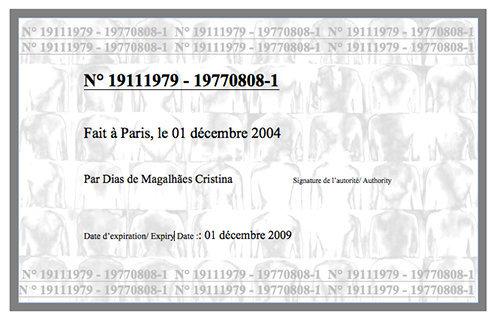 Carte d'identité de dos, 2004 (exemple)