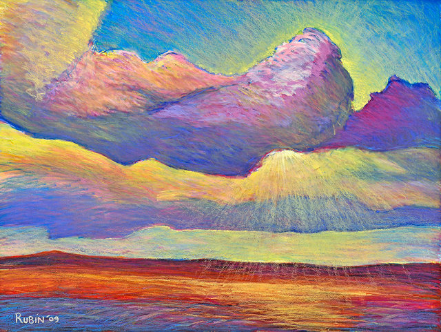 CLOUDS, soft pastel on paper