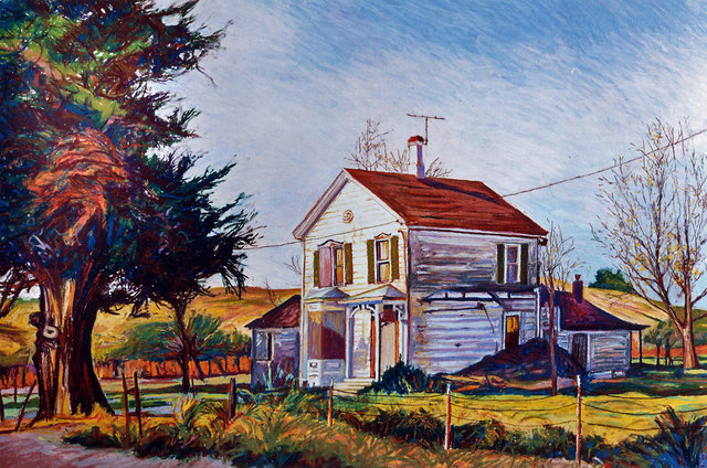 NAPA VALLEY FARMHOUSE, soft pastel on paper