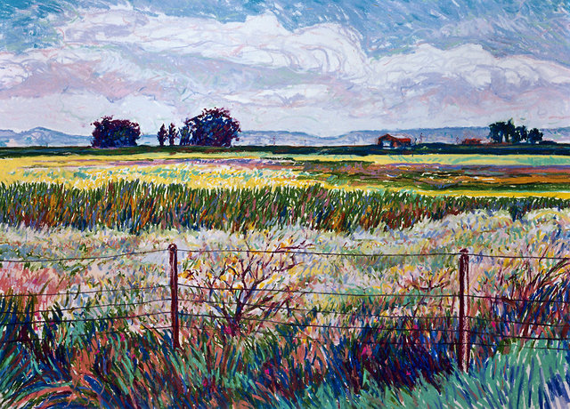 NORTH BAY FIELDS, soft pastel on paper