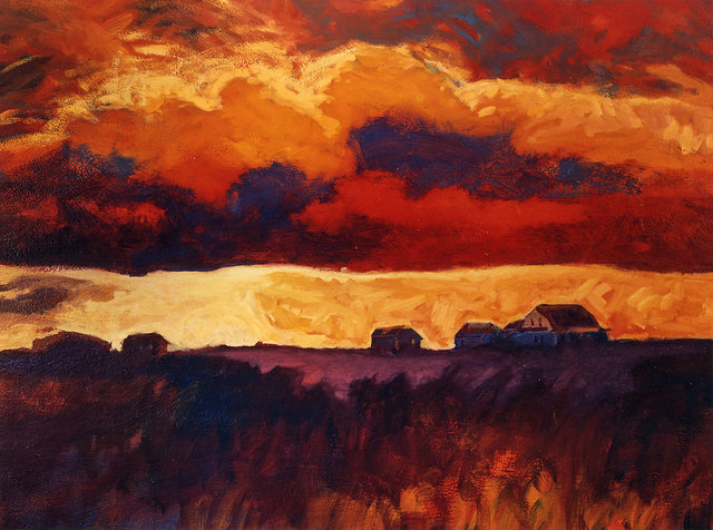 SKY ON FIRE, acrylic on canvas
