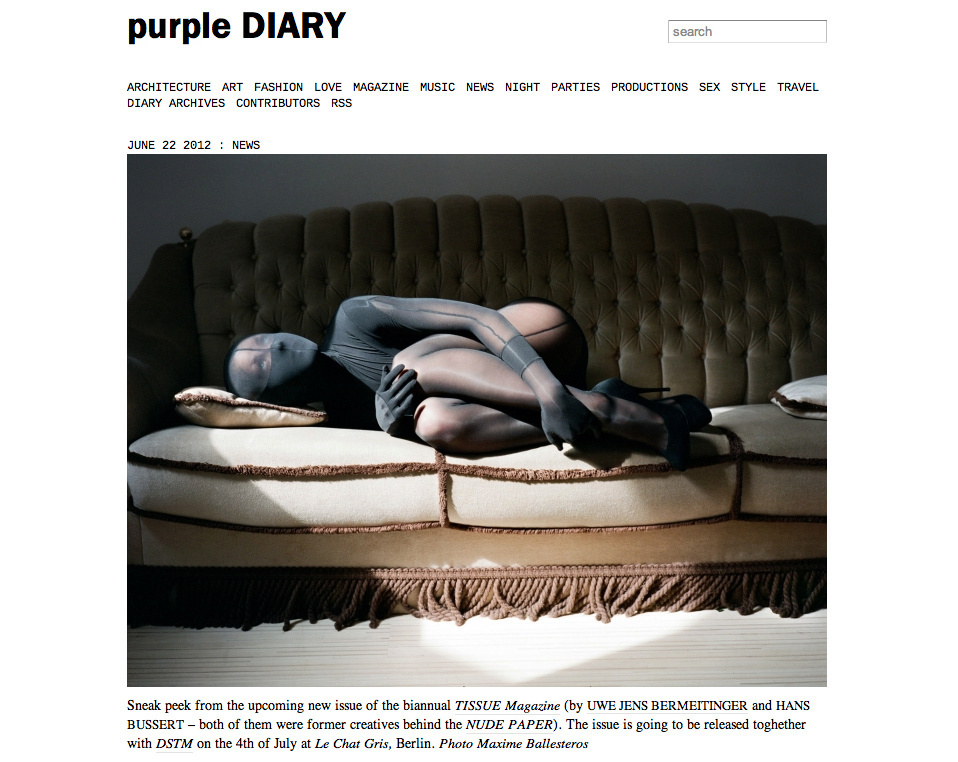 purple DIARY   Sneak peek from the upcoming new issue of the biannual nbsp TISSUE Magazine  by Uwe J