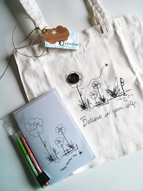 Greeting card to color and bag