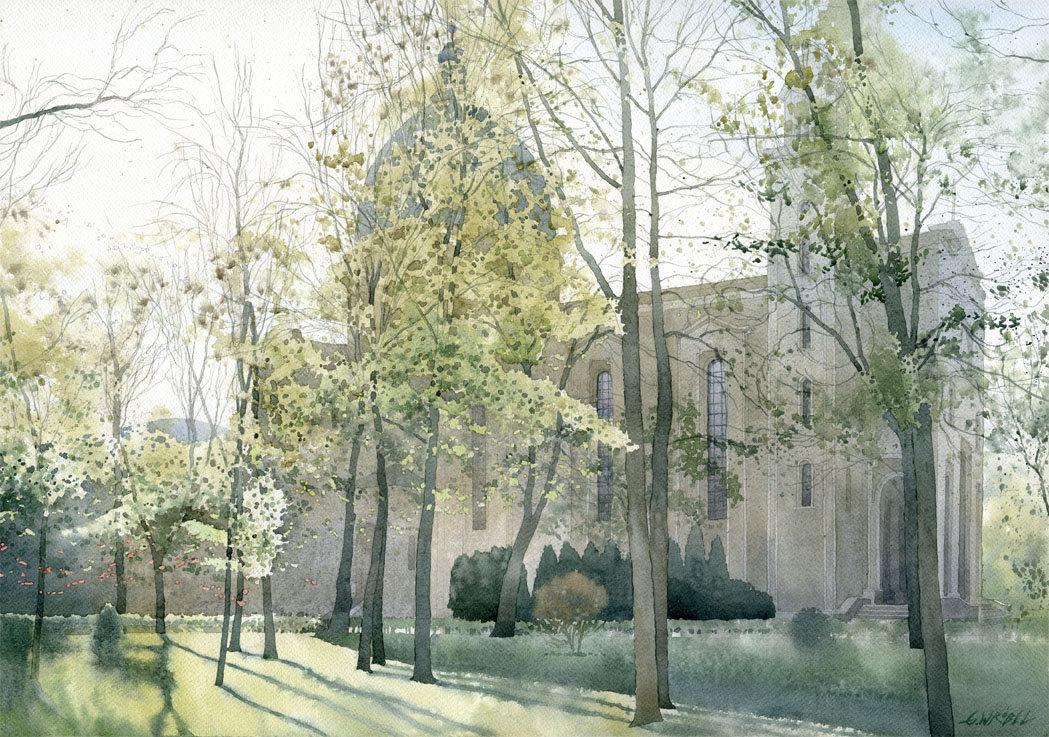 Warszawa kościół Św. Barbary 50x70 akwarela