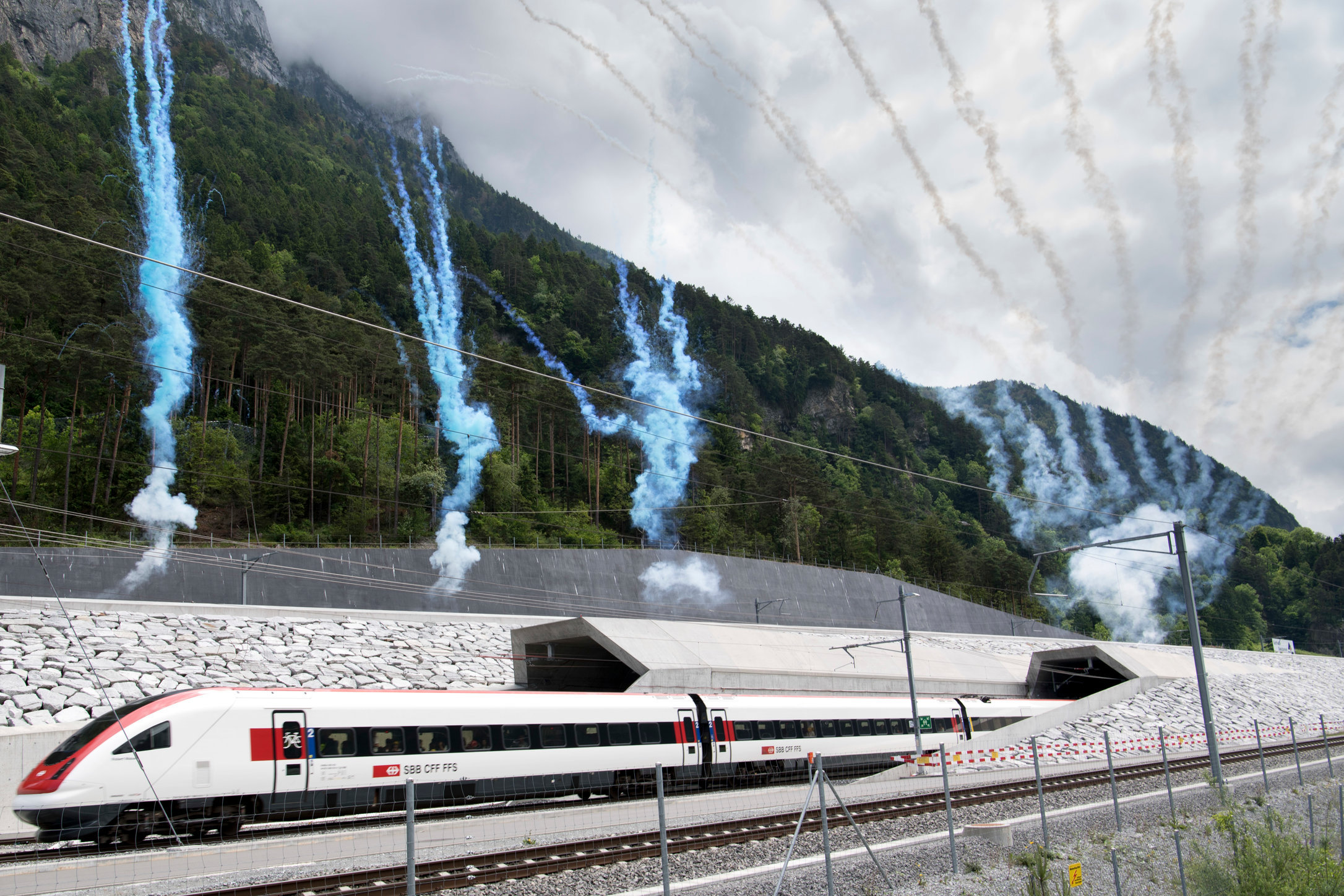 First train Gotthard Base Tunnel - Erstfeld - 2016