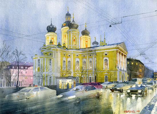 Sobór Św. Włodzimierza Petersburg 56x48 akwarela
