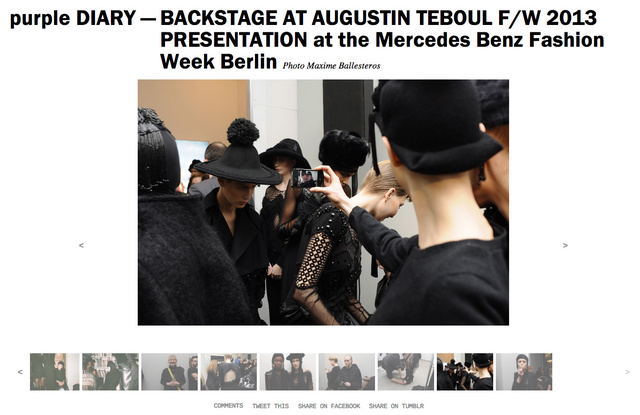 purple DIARY   BACKSTAGE AT AUGUSTIN TEBOUL F W 2013 PRESENTATION at the Mercedes Benz Fashion Week