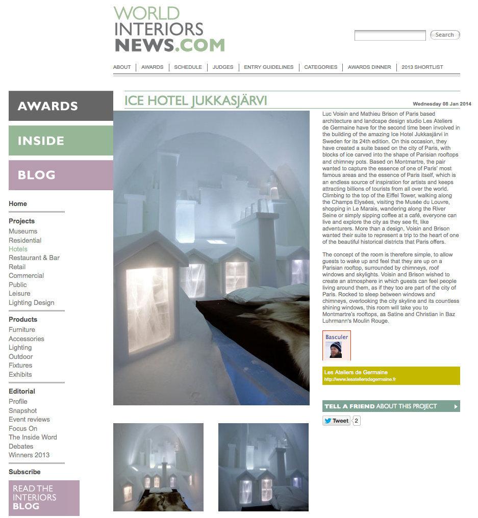 WORLDINTERIORSNEWS.COM (Angleterre) - 08/01/14