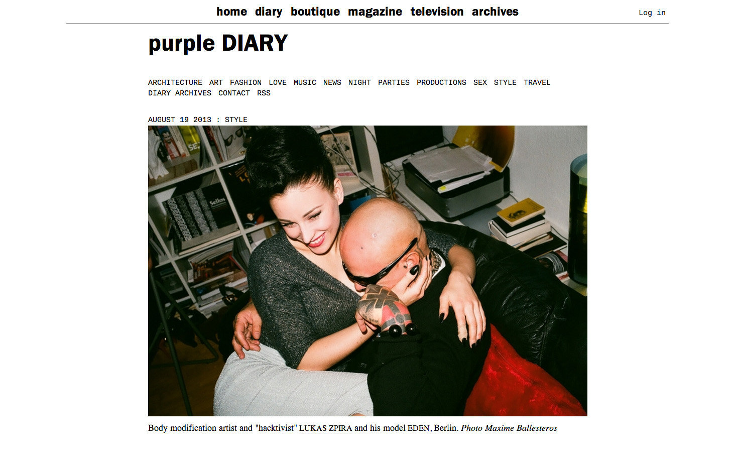 purple DIARY   Body modification artist and  hacktivist  Lukas Zpira nbsp and his model Eden  Berlin