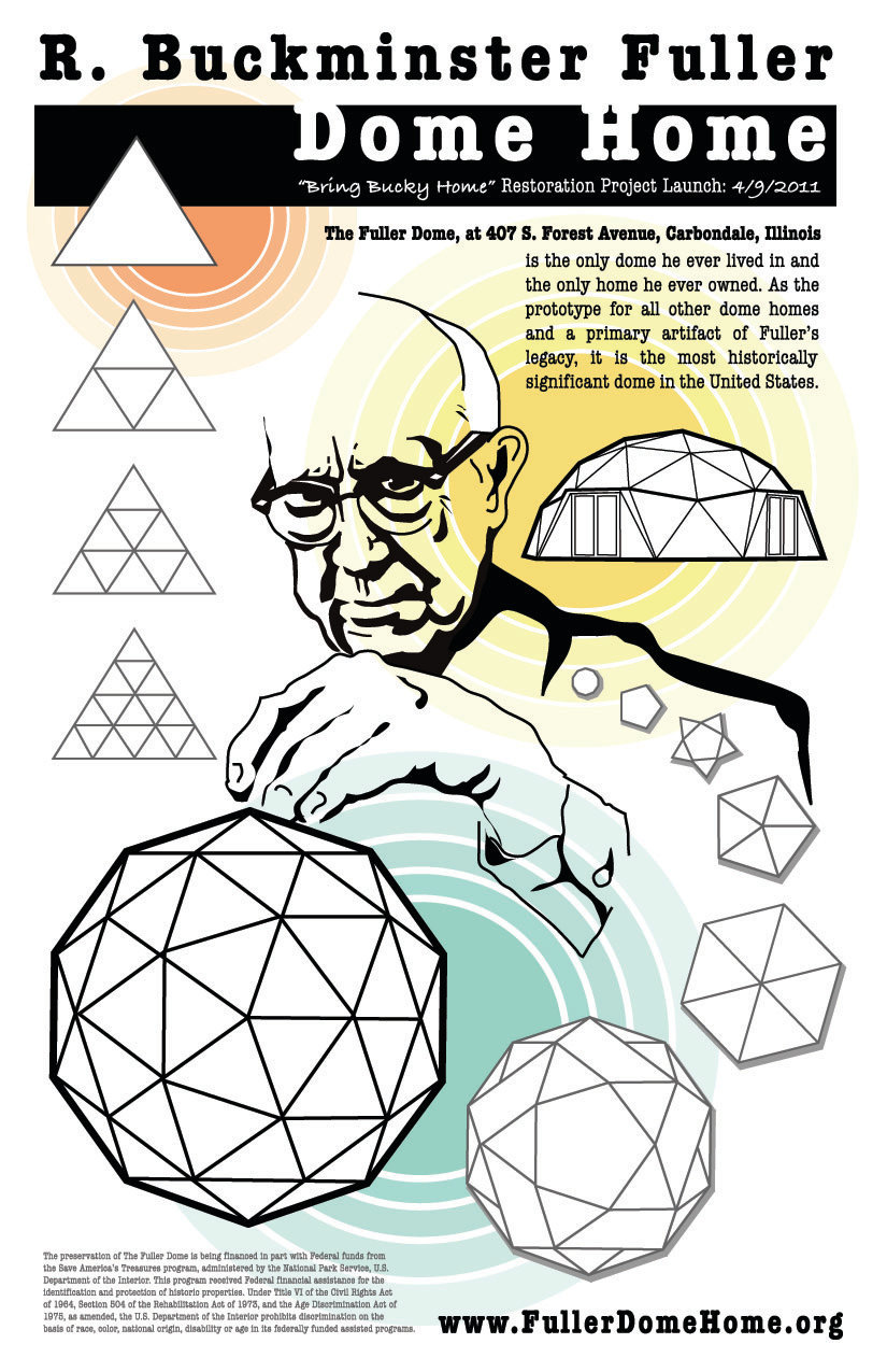Poster design and illustration to promote the preservation of Buckminster Fuller's dome home.