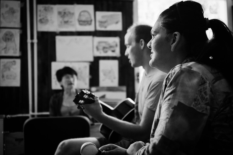 Music therapy session at the Srebrenica health centre.