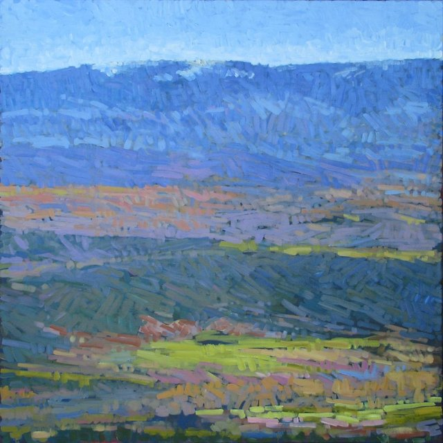 Irrigated Pastures on Missouri Heights, 2013, Acrylic on Canvas, 48 x 48 in. (NLA)