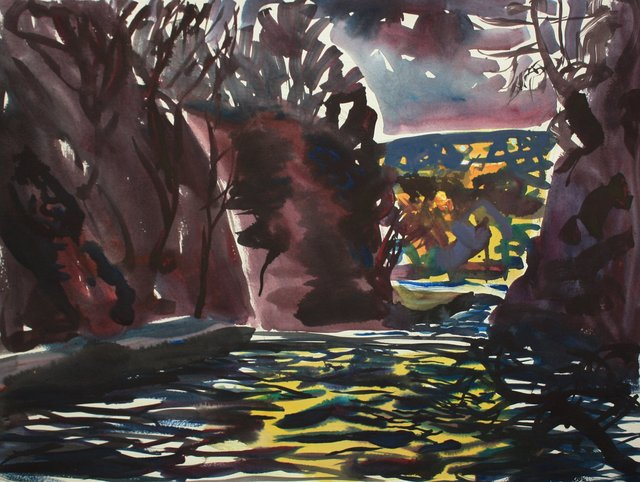 "Cascadilla Gorge Night  22 x 29"""