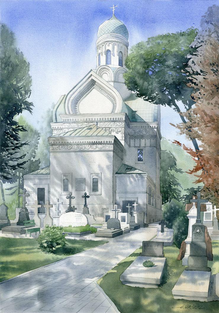Cerkiew Św. Jana w Warszawie 50x70 akwarela