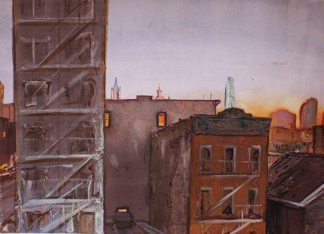 "View from Manhattan Bridge  22 x 28"""