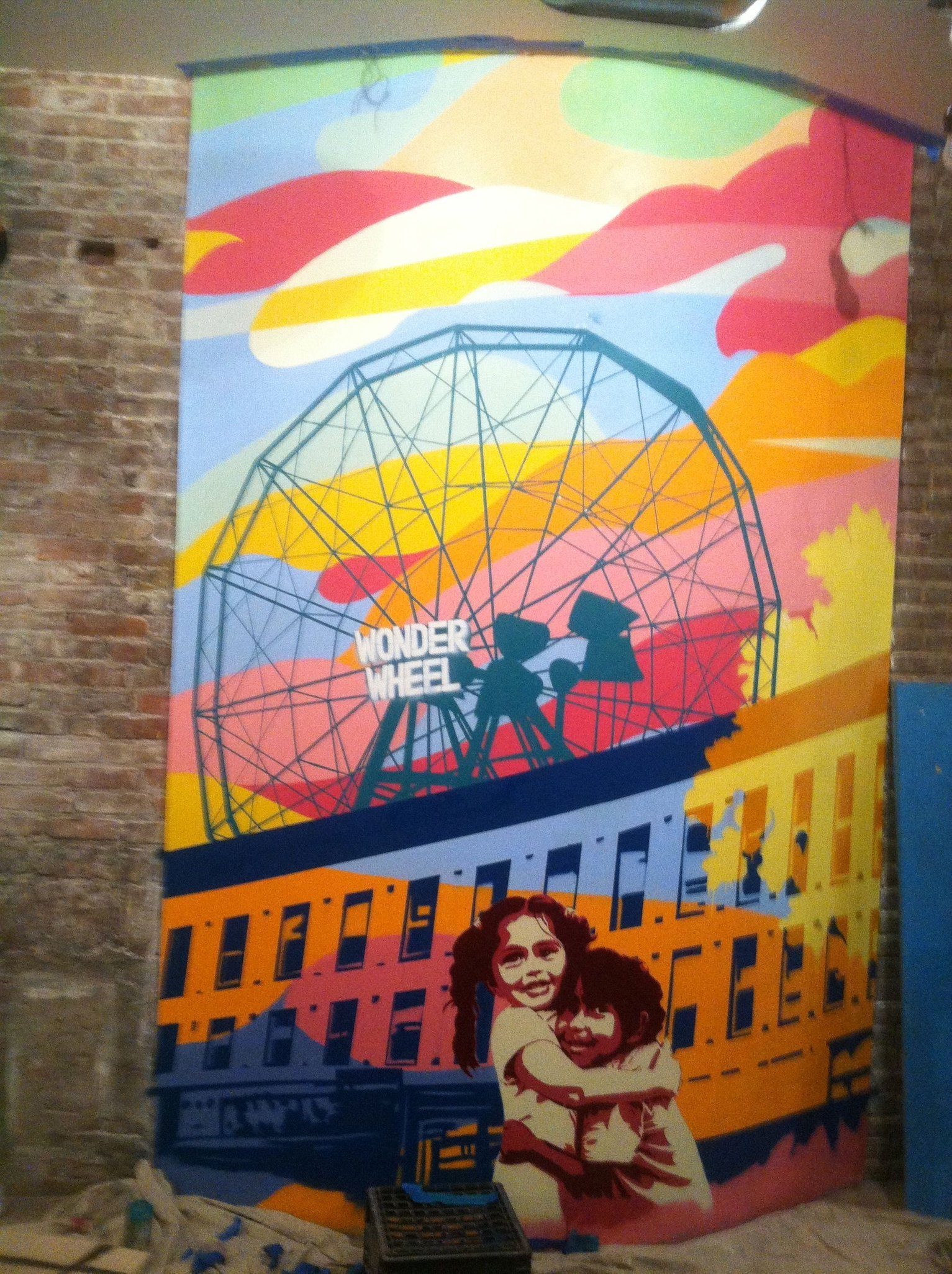 Section of Miti Miti restaurant mural , Brooklyn