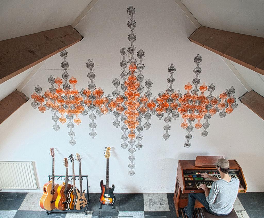 Muurschildering Retro in muziekkamer