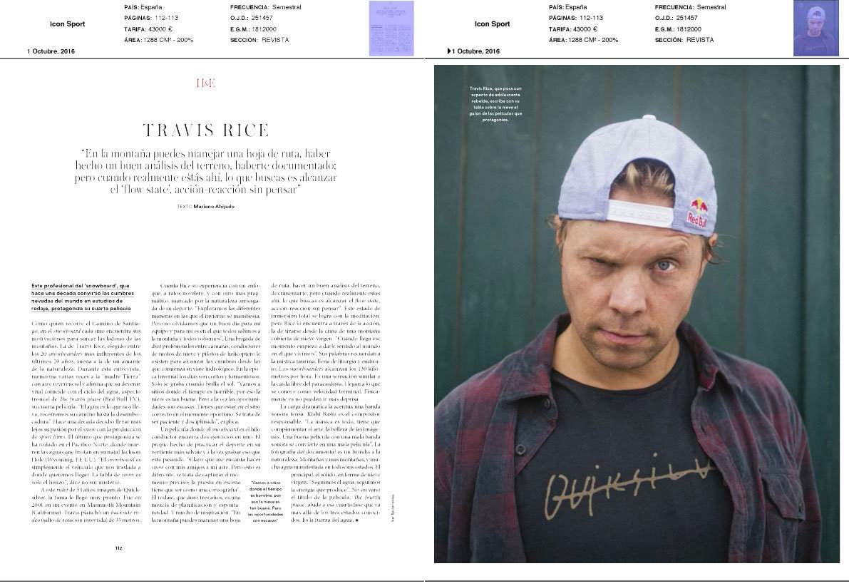 Travis rice for redbull and ICON sport magazine
