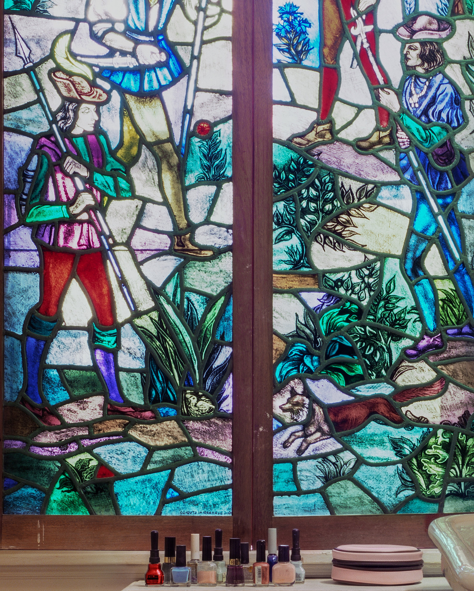 Stained glass in bathroom detail