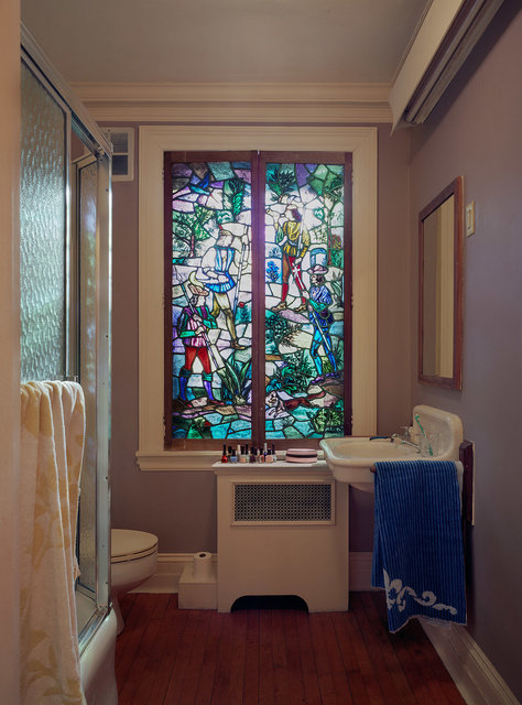 Stained glass in bathroom, 2016