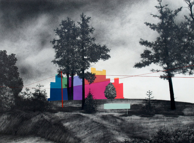 "House on the Hill, 2013, gouache and graphite on paper, 24 x 32"" **"