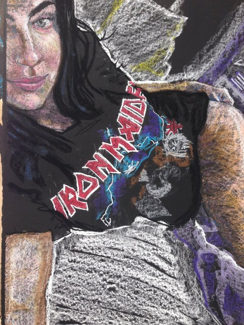 Katrina del Mar: Sophie, Iron Maiden, 2016, Oil Pastel on paper , 30 x 22 in.