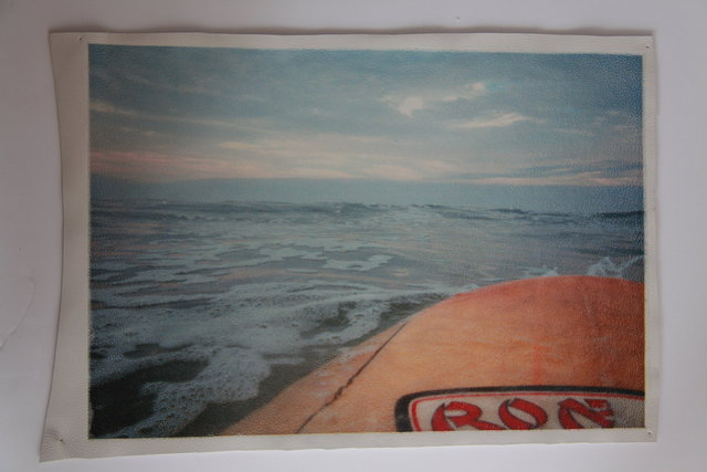 Katrina del Mar: Paddling out early morning (Ron Jon) 12x15in archival pigment print on white leather