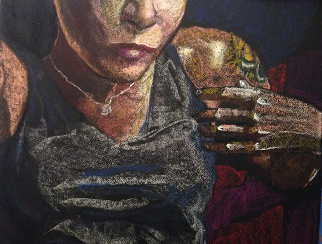 Katrina del Mar, Self Portrait in striped boxers, 2016, Oil Pastel on paper, 30x22 in. (detail)