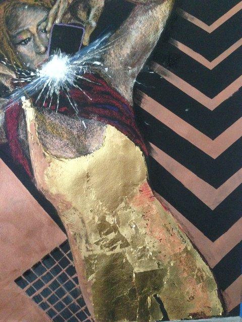 Katrina del Mar: Sam in her mother's gold bodysuit, 2016, Oil Pastel, copper paint & gold leaf on paper, 30 x 22 in.