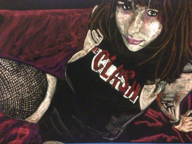 Katrina del Mar: Natalya in fishnets and clash t shirt, 2016, Oil Pastel on black velvet paper, 20 x 30 in.