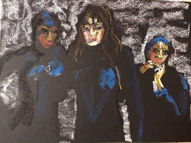 Katrina del Mar Cecilia, Katrina & Miranda in winter wetsuits, 2014, Oil Pastel on paper 9 x 12 in.