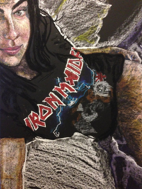 Sophie, Iron Maiden, 2016, Oil Pastel on paper , 30 x 22 in.