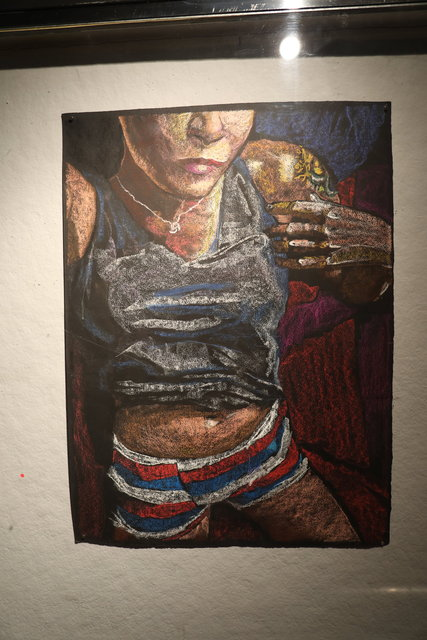 Katrina del Mar, Self Portrait in striped boxers, 2016, Oil Pastel on paper, 22x30 in. Feral Women Filmed Portraits Prince Street Project Space Leslie Lohman Museum NYC  Katrina del Mar Immersive Exhibition