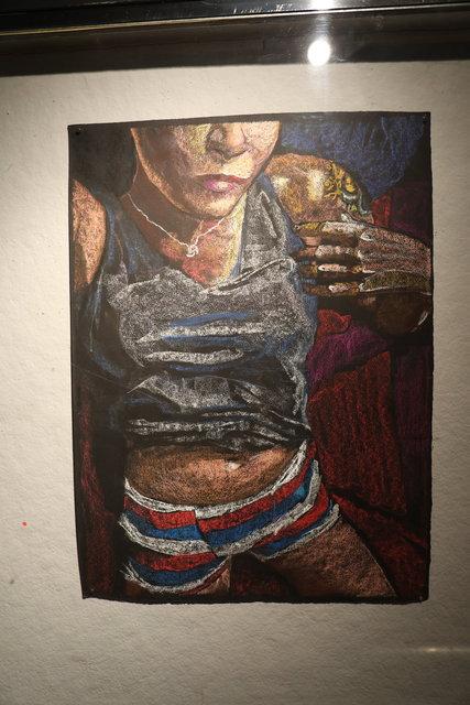 Katrina del Mar, Self Portrait in striped boxers, 2016, Oil Pastel on paper, 30x22 in.