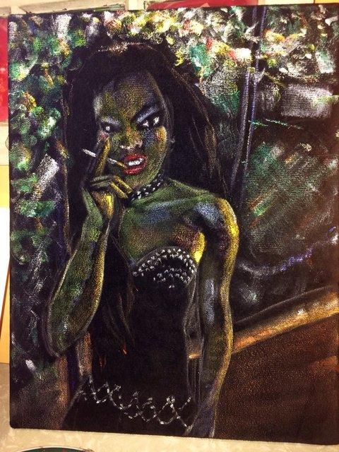 Katrina del Mar: Biker girl (with cigarette prop,) 2014. Acrylic and oil pastel on black velvet 14x18 in.