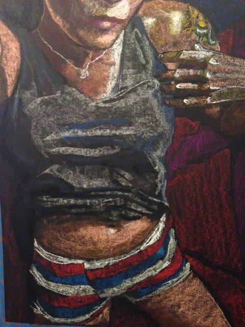 Katrina del Mar: Self Portrait in striped boxers, 2016, Oil Pastel on paper, 22x30 in.