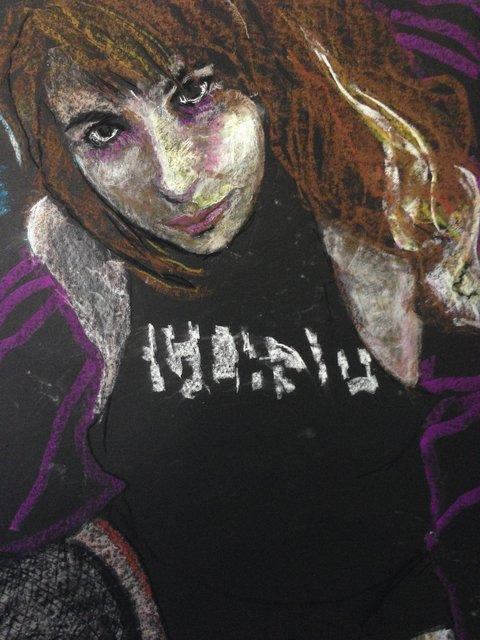 Katrina del Mar: Natalya, The Clash, 2016, Oil Pastel on paper, 30 x 22 in.