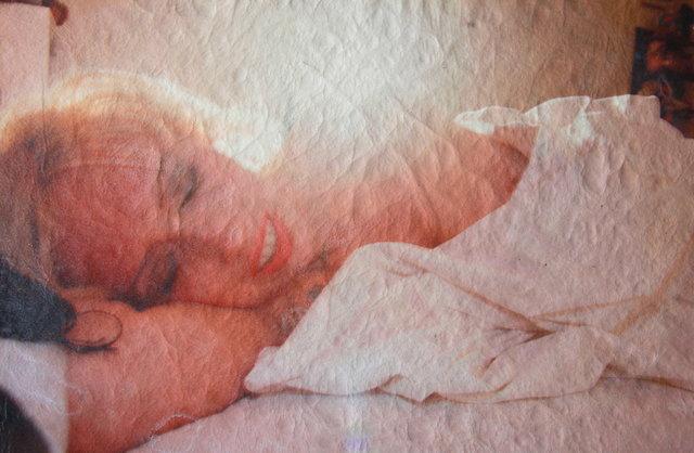 "Katrina del Mar: Tessa in bed backlit  archival pigment print on white calfskin 12x16"" irregular shape"