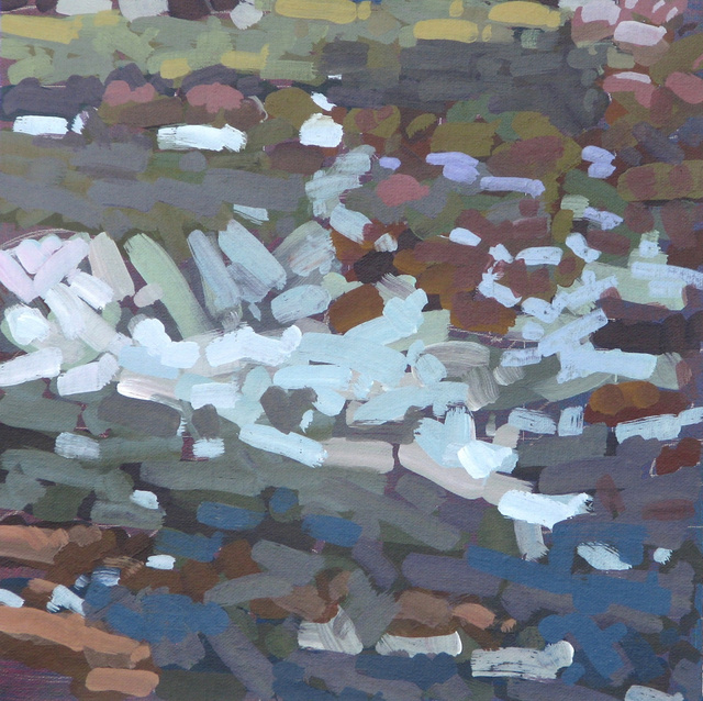 "River Rocks, Avalanche Creek, 2012, Acrylic on Canvas, 12"" x 12"""